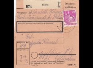BiZone Paketkarte 1948: Rehau nach Eglfing