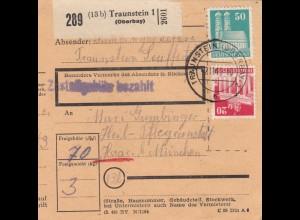 BiZone Paketkarte 1948: Traunstein nach Haar, Heil- Pflegeanstalt