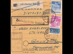 BiZone Paketkarte 1948: Dietfurt nach Gmund Tegernsee