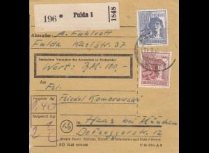 BiZone Paketkarte 1948: Fulda nach Haar bei München