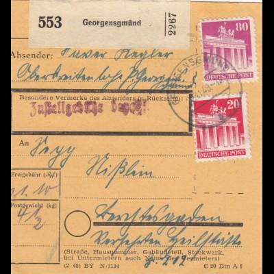BiZone Paketkarte 1948 Georgensgmünd/Oberbreitenlohe - Berchtesgaden, Heilstätte