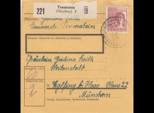 BiZone Paketkarte 1947: Traunstein nach Eglfing, Heilanstalt