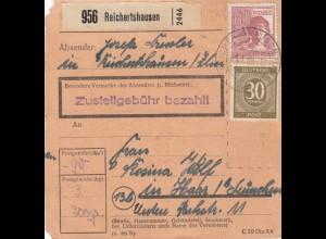 BiZone Paketkarte 1948: Reichertshausen nach Haar / München