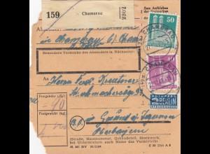 BiZone Paketkarte 1948: Chamerau nach Gmund am Tegernsee
