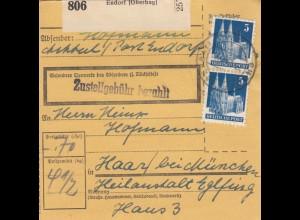 BiZone Paketkarte 1948: Endorf nach Haar bei München, Heilanstalt Eglfing
