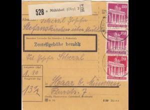 BiZone Paketkarte 1948: Mühldorf nach Haar b. München
