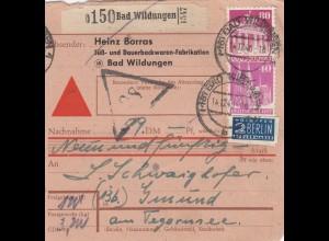 BiZone Paketkarte 1948: Bad Wildungen nach Gmund am Tegernsee, Nachnahme
