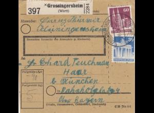 BiZone Paketkarte 1948: Grossingersheim nach Haar bei München