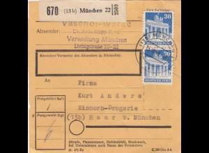 BiZone Paketkarte 1948: München nach Haar b. München