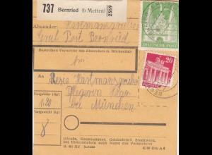 BiZone Paketkarte 1948: Bernried nach Haar b. München, Pflegerin