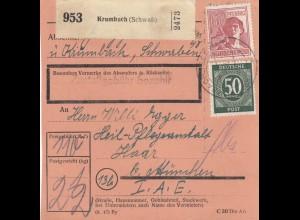 BiZone Paketkarte 1948: Krumbach nach Haar, Heil- und Pflegeanstalt