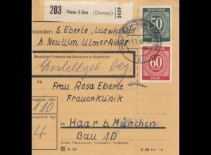 BiZone Paketkarte 1948: Neu-Ulm nach Haar b. München