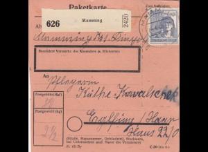BiZone Paketkarte 1948: Mamming nach Eglfing Haar