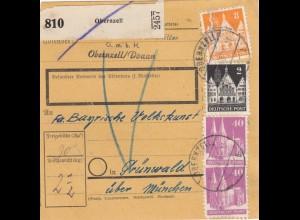 BiZone Paketkarte 1948: Obernzell nach Günwald bei München