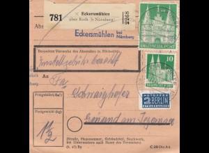 BiZone Paketkarte 1948: Eckersmühlen nach Gmund am Tegernsee
