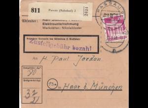 BiZone Paketkarte 1948: Passau (Bahnhof) 2 nach Haar b. München