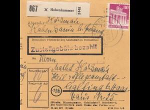 BiZone Paketkarte 1948: Hohenkammer nach Eglfing, Heil- und Pflegeanstalt