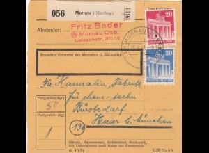 BiZone Paketkarte 1948: Murnau nach Haar b. München, Bürobedarf