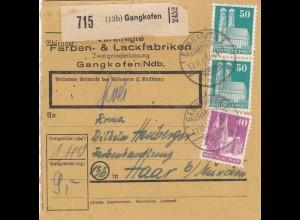 BiZone Paketkarte 1948: Gangkofen nach Haar bei München