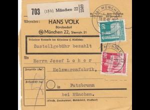BiZone Paketkarte 1948: München 22 nach Putzbrunn, Selbstbucherkarte mit Wert