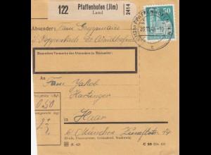 BiZone Paketkarte 1948: Paffenhofen nach Haar b. München