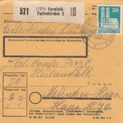 BiZone Paketkarte 1948: Garmisch-Patenkirchen nach München-Haar
