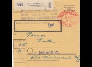BiZone Paketkarte 1949: München nach München, Gebühr bezahlt Stempel