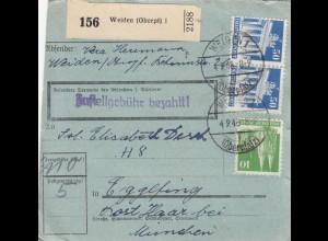 BiZone Paketkarte 1948: Weiden nach Eglfing, seltenes Formular
