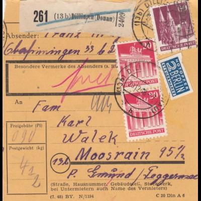 BiZone Paketkarte 1948: Dillingen nach Moosrain
