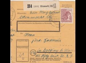BiZone Paketkarte 1948: Altenmarkt nach Eglfing