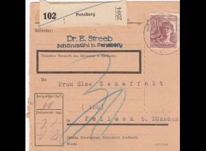 BiZone Paketkarte 1948: Penzberg nach Pullach, Nachgebühr