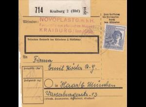 BiZone Paketkarte 1948: Kraiburg nach München Haar