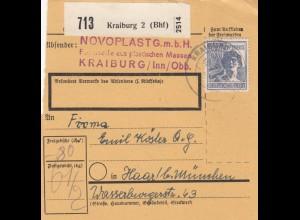 BiZone Paketkarte 1948: Kraiburg, Novoplast, nach München Haar