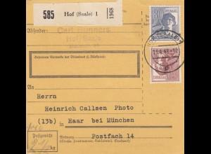 BiZone Paketkarte 1948: Hof (Saale) nach Haar bei München