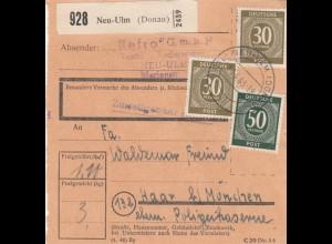 BiZone Paketkarte 1948: Neu-Ulm nach Haar, ehm. Polizeikaserne
