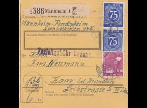 BiZone Paketkarte 1948: Mannheim nach Haar bei München
