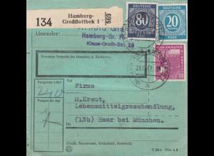 BiZone Paketkarte 1947: Hamburg nach Haar, seltenes Formular