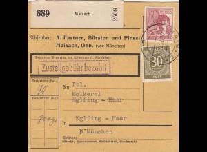 BiZone Paketkarte 1947: Maisach nach Eglfing, Selbstbucherkarte mit Wert