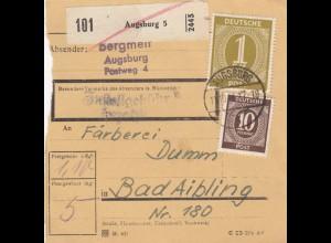 BiZone Paketkarte 1946: Augsburg nach Bad Aibling