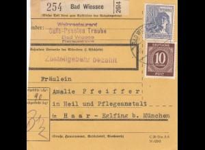 BiZone Paketkarte 1948: Bad Wiessee nach Haar, Heil- und Pflegeanstalt