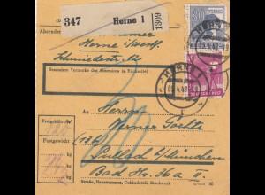 BiZone Paketkarte 1948: Herne nach Pullach, Nachgebühr