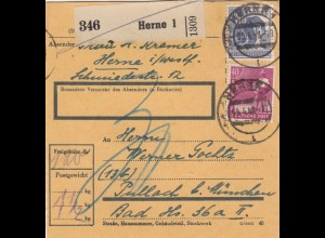 BiZone Paketkarte 1948: Herne 1 nach Pullach bei München, Nachgebühr