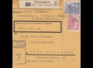 BiZone Paketkarte 1947: Sattelpeilnstein nach Haar, Wertpaketkarte