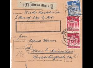 BiZone Paketkarte 1948: Hennef nach Haar bei München