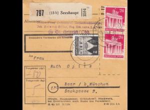 BiZone Paketkarte 1948: Seeshaupt nach Haar bei München