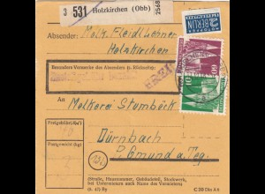 BiZone Paketkarte 1948: Holzkirchen nach Dürnbach Gmund
