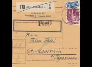 BiZone Paketkarte 1948: München nach Moosrain am Tegernsee
