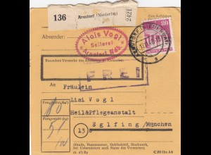 BiZone Paketkarte 1948: Arnstorf nach Eglfing, Heilanstalt
