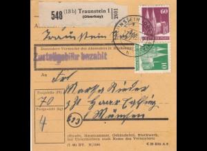 BiZone Paketkarte 1948: Traunstein (Oberbay.) nach Haar Eglfing