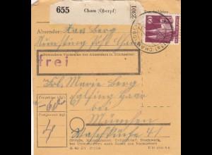 BiZone Paketkarte 1948: Cham nach Eglfing Haar bei München